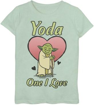 Star Wars Girls 7-16 Valentine's Day Yoda One I Love Graphic Tee