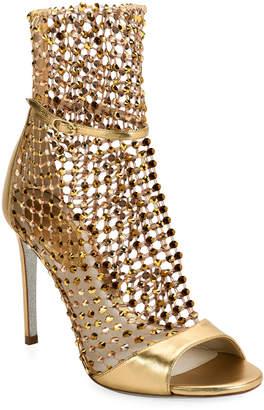 Rene Caovilla Metallic Crystal Mesh Caged Sandals