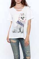 Wildfox Couture White Cat Graphic Tee