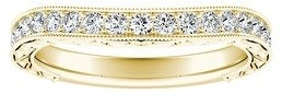 Auriya 3/8ctw Vintage Contour Diamond Wedding Band 14k Gold