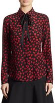 RED Valentino Tie-Neck Heart-Print Silk Blouse