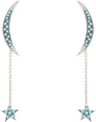 Latelita Moon & Star Drop Earrings Blue Turquoise Silver