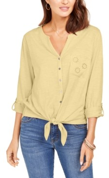 Style&Co. Style & Co Petite Cotton Embroidered Tie-Hem Shirt, Created for Macy's