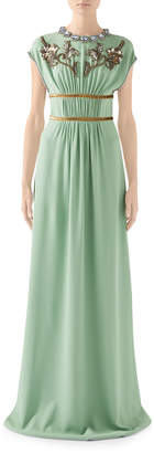 Gucci Cap-Sleeve Embroidered-Jersey Crewneck Dress
