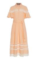 Lela Rose Fringe Inset Flutter Sleeve Shirt Dress