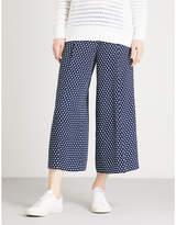 MICHAEL Michael Kors Polka dot wide-leg high-rise crepe trousers