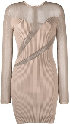 Herve Leger Semi-Sheer Fitted Dress