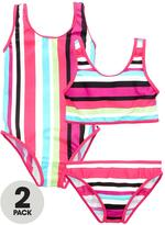 Very Girls Striped Swimsuit and Tankini (2 Pack)