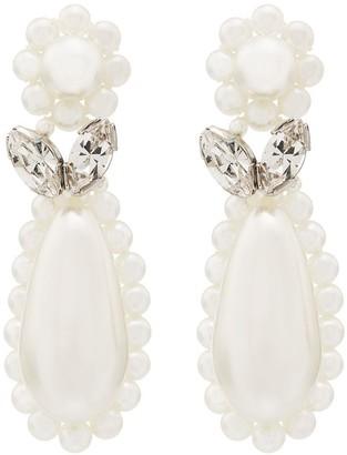 Simone Rocha sterling silver flower teardrop pearl earrings