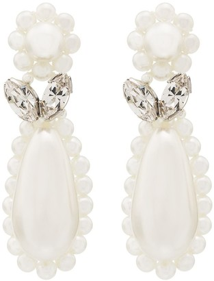 Simone Rocha Sterling Silver Flower Teardrop Pearl Earrings
