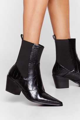 Crocs Nasty GalNasty Gal Womens Croc'S The Plan Faux Leather Pointed Boots - Black - 5, Black