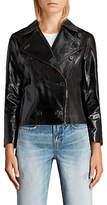 AllSaints Deebee Leather Payton Blazer, Black