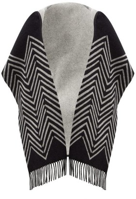 Valentino Chevron-jacquard Wool-blend Hooded Scarf - Black White