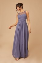 Thumbnail for your product : Little Mistress Grace Lavender Grey Embellished Neck Maxi Dress