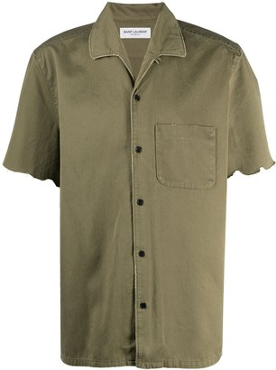 Saint Laurent Unfinished Hem Short-Sleeve Shirt