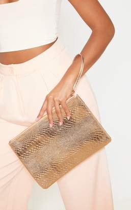 PrettyLittleThing Rose Gold Metallic Clutch Bag
