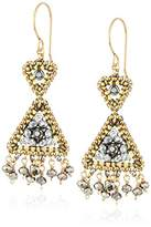 Miguel Ases Reversed Double Triangle Pyrite Fringe Drop Earrings