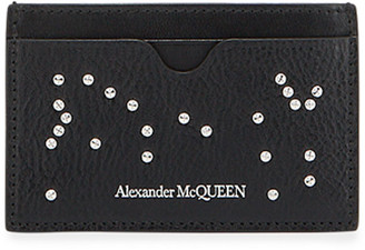Alexander McQueen Men's Core Logo Studded Leather Card Case