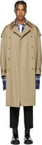 Lad Musician Beige Double-Breasted Trench Coat