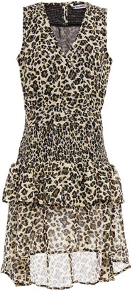 Walter Baker Shirred Metallic Leopard-print Crepe De Chine Dress