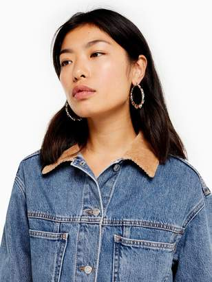 Topshop Cord Collar Denim Jacket - Mid Stone