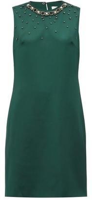 Erdem Rivanna Bow-applique Satin Dress - Womens - Green Multi