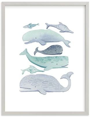 Pottery Barn Kids Minted Blue Whales Wall Art by Kelsey Carlson
