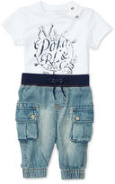 Ralph Lauren Boy Cotton Tee & Denim Jogger Set