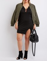 Charlotte Russe Plus Size Caged Asymmetrical Bodycon Dress