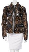 Gianfranco Ferre Leather-Trimmed Shearling Jacket w/ Tags