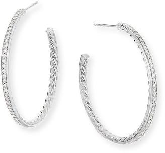 David Yurman Medium Hoop Earrings w/ Pave Diamonds