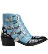 Toga Pulla Light Blue Buckled Cowboy Ankle Boots