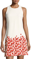 Neiman Marcus Floral-Print Sleeveless Shift Dress, White/Red
