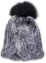 Surell Accessories Rabbit & Fox Fur Beanie Hat