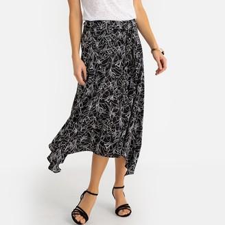 Anne Weyburn Asymmetric Printed Draping Midi Skirt