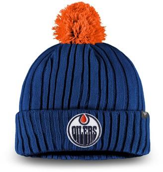 Key Stone Men's Fanatics Branded Navy Edmonton Oilers Keystone Cuffed Knit Hat with Pom