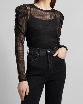 Express Sheer Jacquard Lace Ruched Shoulder Tee