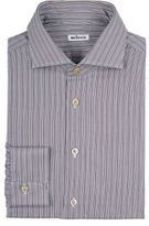 Kiton Men's Striped Cotton Twill Shirt-LIGHT BLUE, WHITE