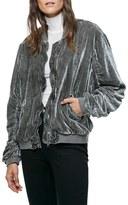 Free People Women's Ruched Velvet Bomber Jacket