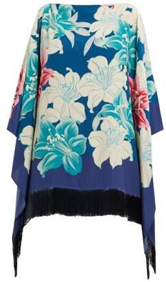 Etro Fringed Floral-print Silk Poncho - Womens - Blue