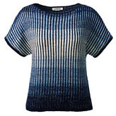 Lands' End Women's Petite Short Sleeve Dolman Sweater-Light True Navy Ombre Marl