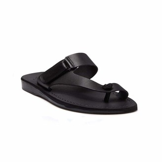 Jerusalem Sandals Mens Rafael Black Durable Handcrafted Real Leather Sandals Slide Sandals for Men with Toe Loop and Adjustable Hook-and-Loop Closure Textured Sole Waterproof Size 7 US