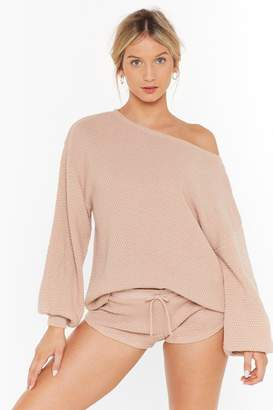 Nasty Gal Womens Knit Happens Jumper and Shorts Lounge Set - Beige - 10