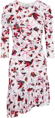 Diane von Furstenberg Lila Asymmetric Ruched Printed Stretch-mesh Dress
