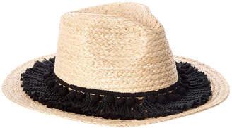 MARCUS ADLER Raffia Straw Panama Hat With Fringe & Poms