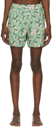 Amiri Green and Pink Banana Leaves Swim Shorts
