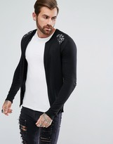 Asos Knitted Bomber Jacket With Metallic Embroidery