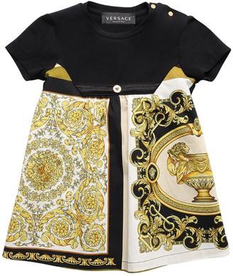 Versace Baroque Print Satin & Jersey Dress