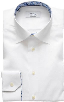 Eton Contemporary-Fit Print-Detail Solid Dress Shirt