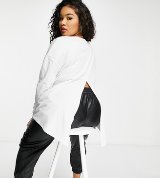 ASOS DESIGN Curve long sleeve t-shirt with slit back in white